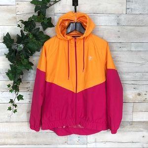 Fila Sport Pink Orange Colorblock Raglan Jacket L